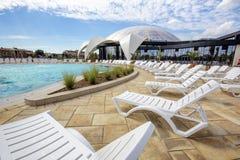 Äußerer Nymphaea Aquapark in Oradea, Rumänien Lizenzfreies Stockbild