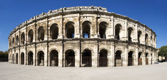 Äußeres der Arena von Nîmes, Frankreich Stockfotografie