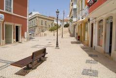 Äußeres der historischen Gebäude in Silves, Portugal Stockfotografie