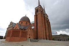 Äußeres der Kathedrale von Roskilde in Dänemark Lizenzfreies Stockfoto