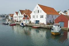 Äußeres der traditionellen Holzhäuser in Skudeneshavn, Norwegen Stockfoto