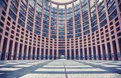 Äußeres des Europäischen Parlaments von Straßburg, Frankreich, 29 Ju Lizenzfreie Stockbilder