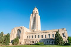 Äußeres des Nebraska-Kapitol-Gebäudes stockfoto