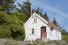 Äußeres des traditionellen Holzhauses in Skudeneshavn, Norwegen Lizenzfreie Stockbilder