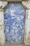Äußeres des traditionellen Straße azulejo Mosaiks in Silves, Portugal Lizenzfreie Stockbilder