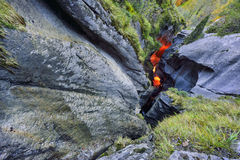 Äußeres Teil TrÃ-¼ mmelbach Fälle (Wasserfall) Lizenzfreie Stockfotos
