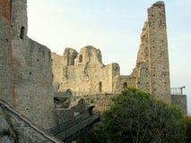 Äußeres von Sacra di San Michele, italienische mittelalterliche Abtei Lizenzfreies Stockbild