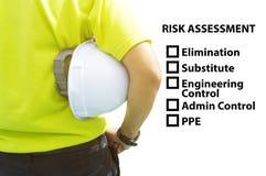 Äventyra det ID- och för arbete för säkerhet för begrepp för riskbedömning stället Arkivbilder