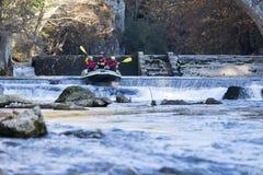äventyrlig grupp som gör vitt vatten som rafting forsarna av floden Arkivfoto