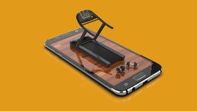 健身流动应用智能手机概念 皇族释放例证