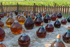 做在大回合玻璃古色古香的篮装的细类颈大坛瓶的自然甜点心麝香葡萄利口酒白酒外部在弗龙蒂尼昂,南部 免版税图库摄影