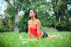 做西藏礼拜式瑜伽锻炼的坚定的适合的年轻女人在公园 图库摄影