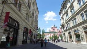 卢布尔雅那的中央街道斯洛文尼亚资本和大城市 股票录像