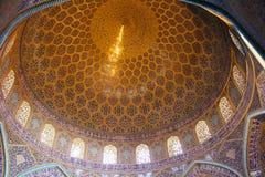 卢图福拉Mosque回教族长圆顶在伊斯法罕,伊朗 库存照片