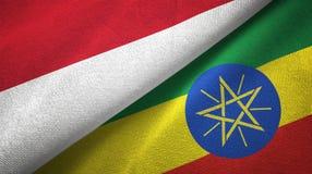 印度尼西亚和埃塞俄比亚两旗子纺织品布料,织品纹理 向量例证