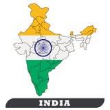 印度地图和印度旗子 皇族释放例证