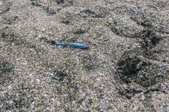 危机生态学环境照片污染 海滩垃圾 被放弃的牙刷 图库摄影