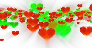华伦泰` s天生日摘要背景,在白色的飞行的切好的玻璃心脏 Loopable 4k 3d翻译 库存例证