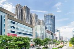 华强北部路的电子商店在深圳,中国 图库摄影