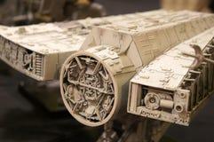 千年隼号从争霸特权电影的太空船比例模型  库存图片