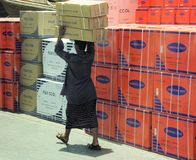 口岸的搬运工,迪拜Creek 免版税库存照片