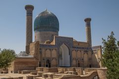 古尔埃米尔陵墓在撒马而罕,乌兹别克斯坦 库存图片