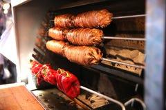 可口土耳其食物在伊斯坦布尔Kokorec 免版税库存图片