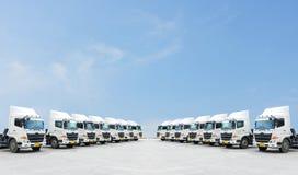 双卡车队在有美好的蓝色地平线的围场停放 库存照片