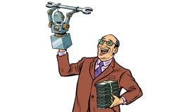发明者工程师和机器人 在空白背景的孤立 皇族释放例证