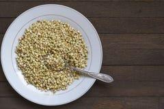 发芽的荞麦的关闭与在白色板材的匙子在木桌上 免版税库存照片