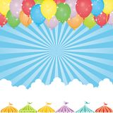 Sky background with balloon and event tents. Event background with balloon, event tents and clouds royalty free illustration