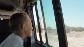 吹对童颜的风在汽车旅途期间 股票录像