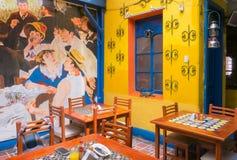坎德拉里亚角区的典型的餐馆内部波哥大  库存照片