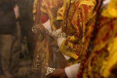 塞维利亚圣周接近的视图 免版税库存照片