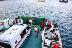 塞瓦斯托波尔,克里米亚- 2014年9月:轮渡'伊斯托明海军上将' 免版税图库摄影