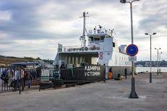 塞瓦斯托波尔,克里米亚- 2014年9月:轮渡'伊斯托明海军上将' 免版税库存照片