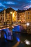 Šuštarski most Shoemakers bridge at dusk Royalty Free Stock Photo