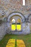 墙壁 中世纪cistercian修道院废墟在特兰西瓦尼亚 罗马尼亚 免版税库存图片