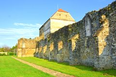 墙壁 中世纪cistercian修道院废墟在特兰西瓦尼亚 库存图片