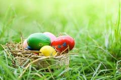 复活节彩蛋在室外的绿草寻找 库存照片