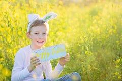 复活节时间的男孩 免版税图库摄影