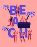 夏天海滩党愉快的吹捧印刷术海报 室外的人的热带俱乐部Dj戏剧音乐 在夏威夷海的字符舞蹈 库存例证