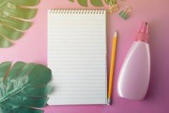 夏天摘要,桃红色背景 有monstera叶子和开放笔记本的遮光剂瓶,有拷贝空间的 免版税库存图片