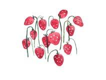 夏天莓果,手拉的套的水彩例证草莓 皇族释放例证