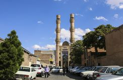 大不里士,IRAN-SEPTEMBER 27,2018:后边星期五清真寺大不里士大巴扎,伊朗 图库摄影
