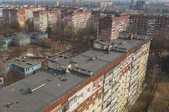 大厦屋顶鸟瞰图在城市从上面 图库摄影
