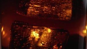 大冰块在一杯漂浮可乐-宏观射击的关闭在慢动作 股票视频
