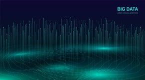 大数据形象化 数据流未来派宇宙设计  与流动的微粒的抽象数字式背景 分数维发光 皇族释放例证