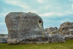 大象岩石在Duntroon,南岛,新西兰 免版税库存照片