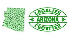大麻留下拼贴画亚利桑那州地图与合法化难看的东西邮票封印 库存例证
